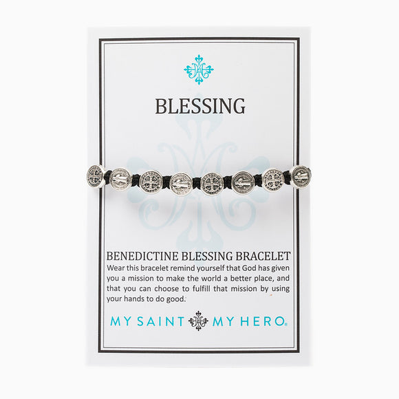 Benedictine Blessing Bracelet -Silver/Black