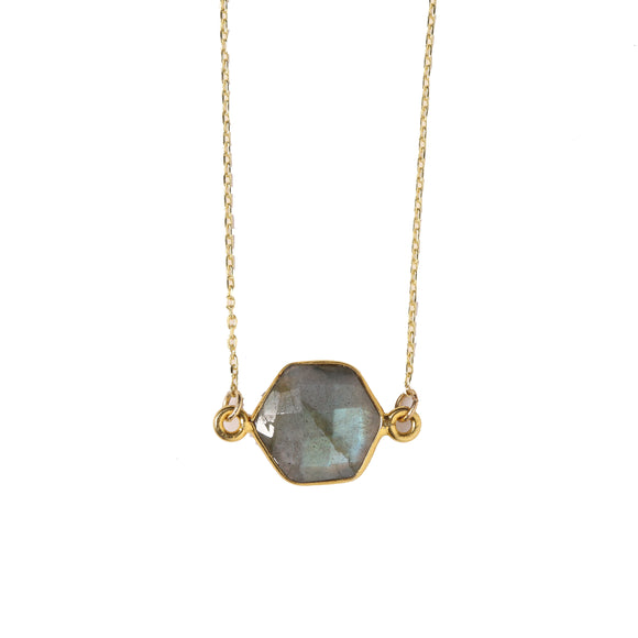 Heather Gold Lab Hexagon Necklace- Beaucoup