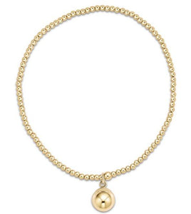 Classic Gold 2mm Bead Bracelet - Clarity Gold Charm