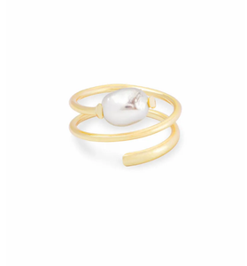 Jayla Gold Cocktail Ring In Pearl