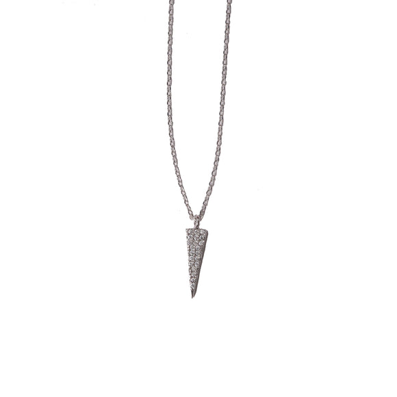 Petite Silver Rhinestone Spike Necklace