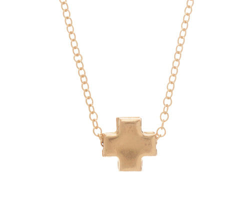 Signature Cross Necklace Matte- Gold