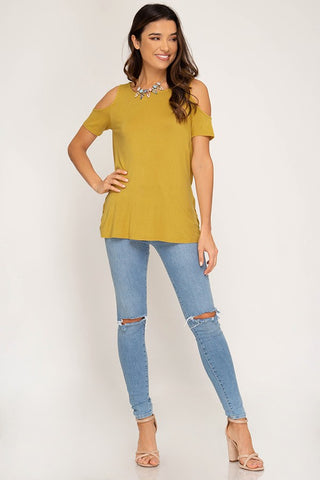 Short Sleeve Cold Shoulder Knit Top