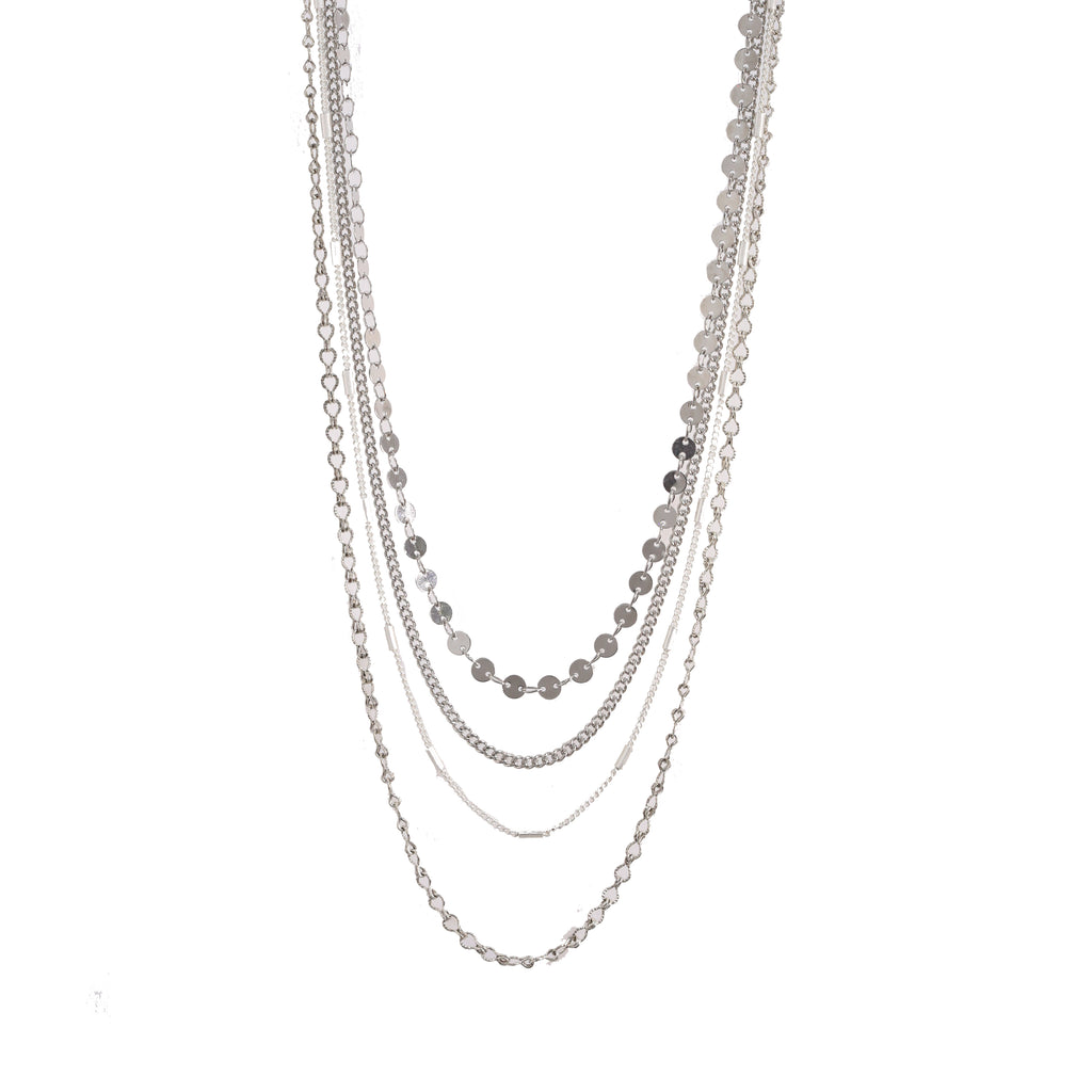 Silver Four Layer Multi Chain Necklace