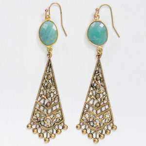 Amazonite Gold Filigree Drop Earrings