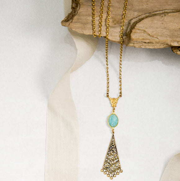 Amazonite Gold Filigree Necklace