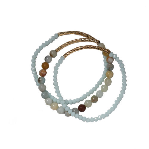 Verbena Set of Three Bracelets with Textured Gold Tubes and Amazonite Stones