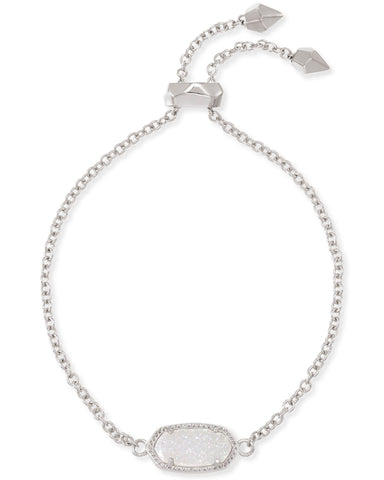 Elaina Adjustable Chain Bracelet in Rhodium Iridescent Drusy