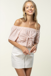 Off Shouler Tie Front Bandeau Top