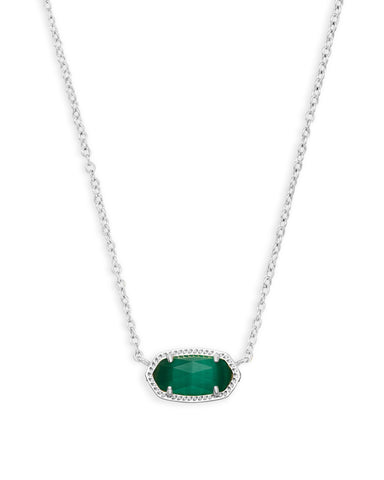 Elisa Silver Pendant Necklace In Emerald Cat's Eye