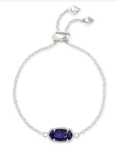 Elaina Adjustable Chain Bracelet in Bright Silver Blue Lapis