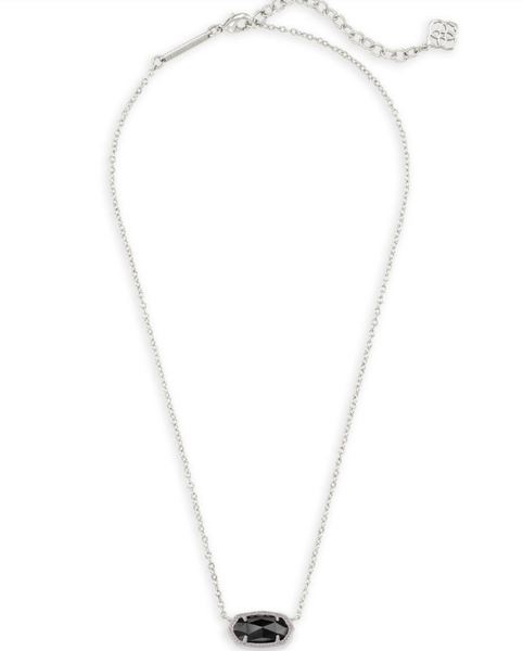 Elisa Silver Pendant Necklace In Black