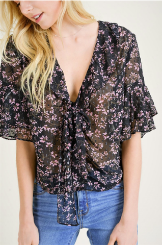 Floral Flutter Sleeve Crop Top