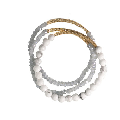 Verbena Set of Three Bracelets with Textured Gold Tubes and Howlite Stones