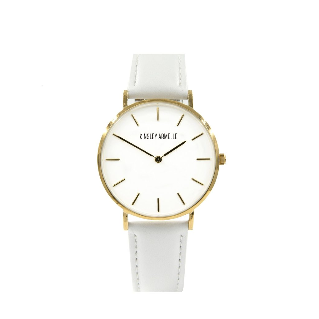 Gold Ashen White Leather Watch