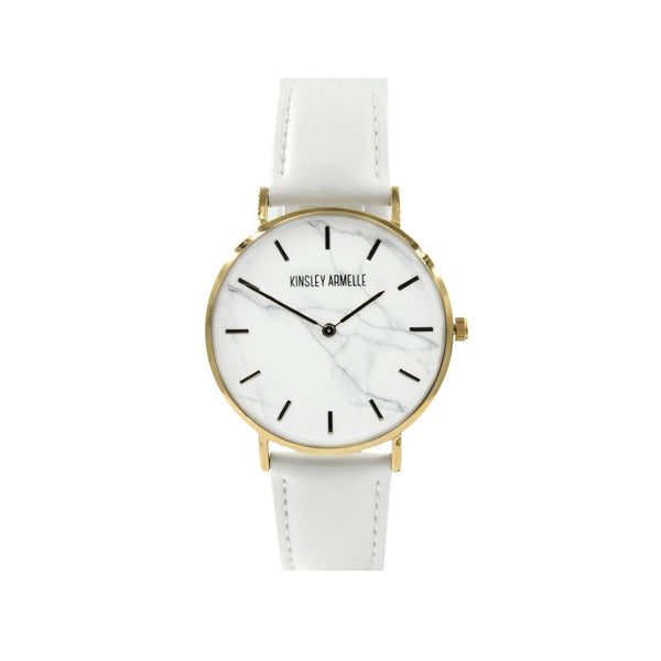 Gold Marble White Leather Watch