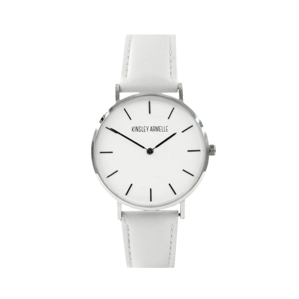 Silver Ashen White Leather Watch