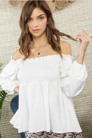 Ruffle Bubble Sleeve Blouse
