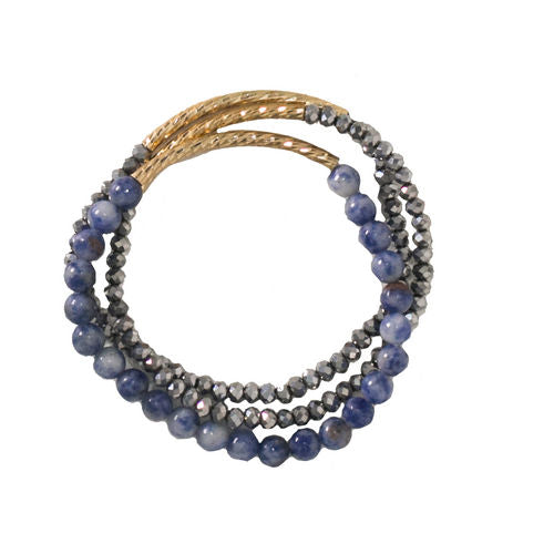 Verbena Set of Three Bracelets with Textured Gold Tubes and Sodalite Stones