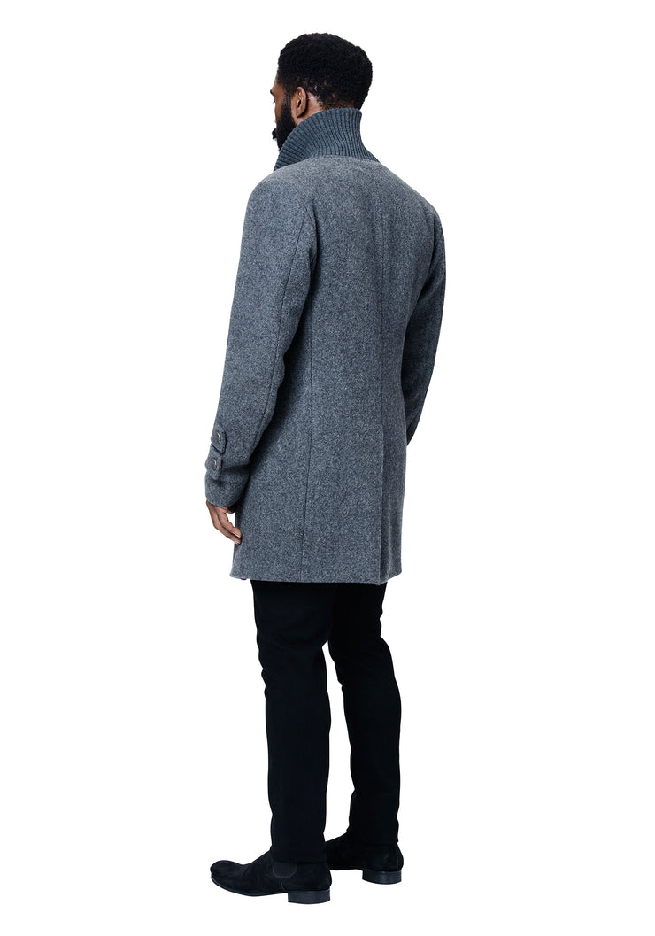 Temple Double Breasted Shawl Collar Coat