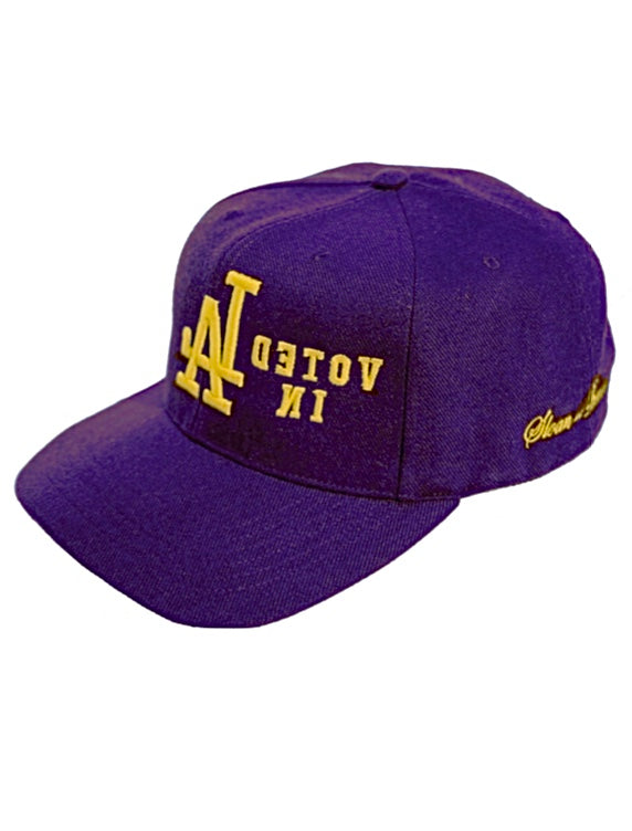 PURPLE and GOLD AJ MIRROR VOTE SNAPBACK HAT