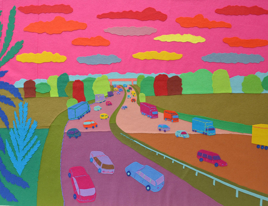 Felt Embroidery M6 Motorway Paul Leith Textile Artwork