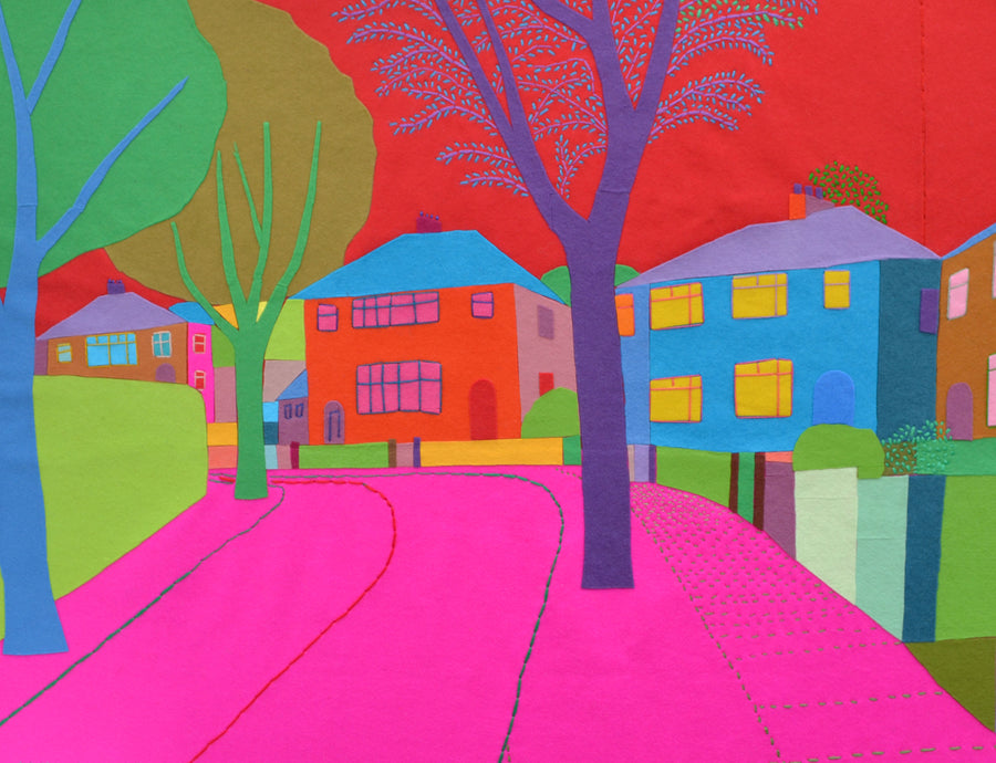 Felt Embroidery Suburban Street Paul Leith Textile Artwork