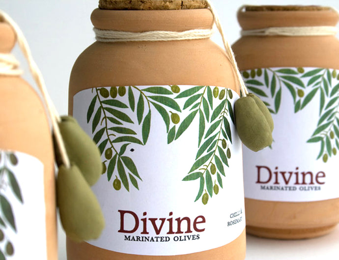 Packaging design illustration label product olives