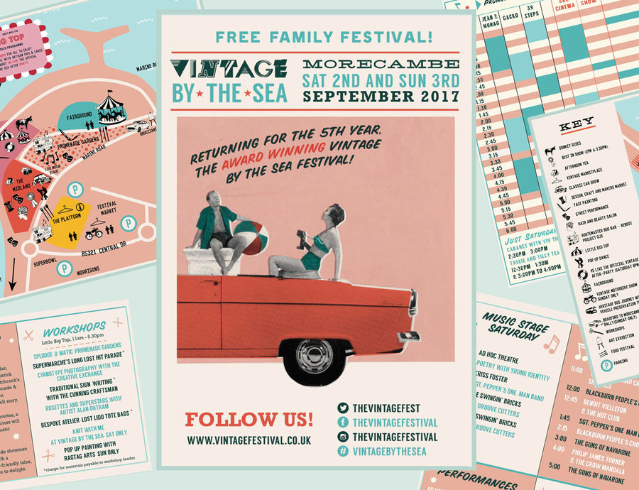 Festival programme layout design vintage event