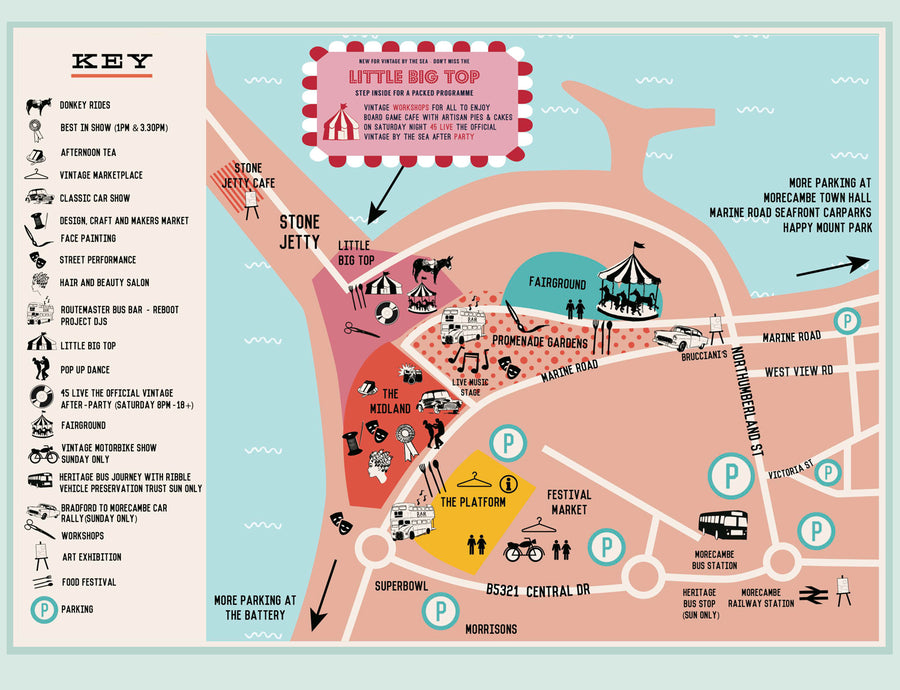 Festival programme layout design vintage event map