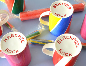 Stick of Rock Mug Seaside town bone china candy