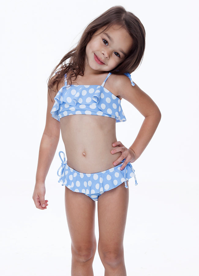 BLUE POLKA DOT TWO PIECE