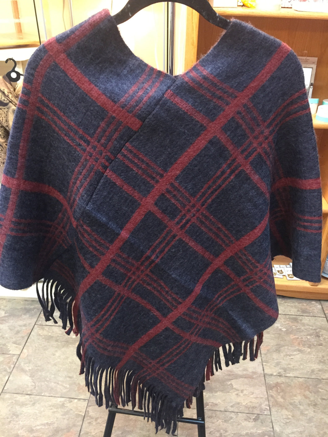 Blue and Red poncho