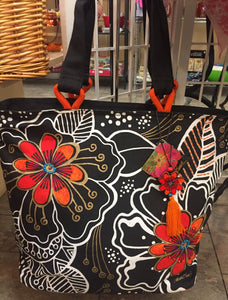 Orange black floral tote