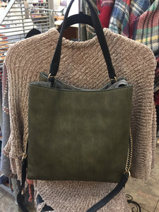 Olive green corduroy look Handbag