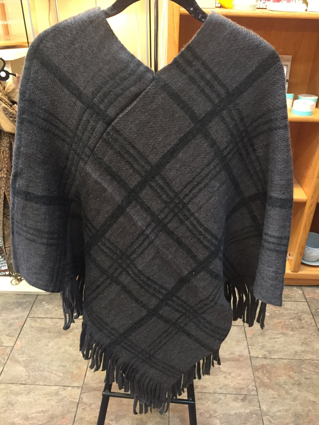 Grey Black poncho