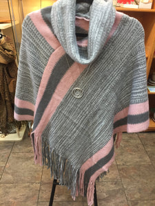 Grey and pink poncho