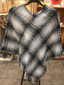 Black, multicolor plaid poncho