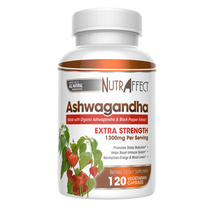 Nutraffect Organic Ashwagandha Supplement with Black Pepper Extract - 1300mg Per Serving - 120 Vegan Capsules