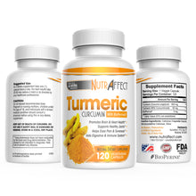 Nutraffect Turmeric Curcumin Supplement with Bioperine - 120 Capsules