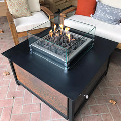 Raven black IMPACT fire table square with tempered glass wind guard located in Eagle Idaho.