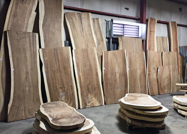 Sustainably harvested kiln dried wood slab inventory at Impact Imports in Boise Idaho