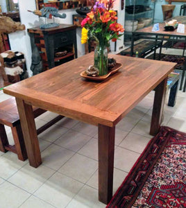 Teak Dining Table, Reclaimed Teak Wood, 4 foot long - Impact Imports