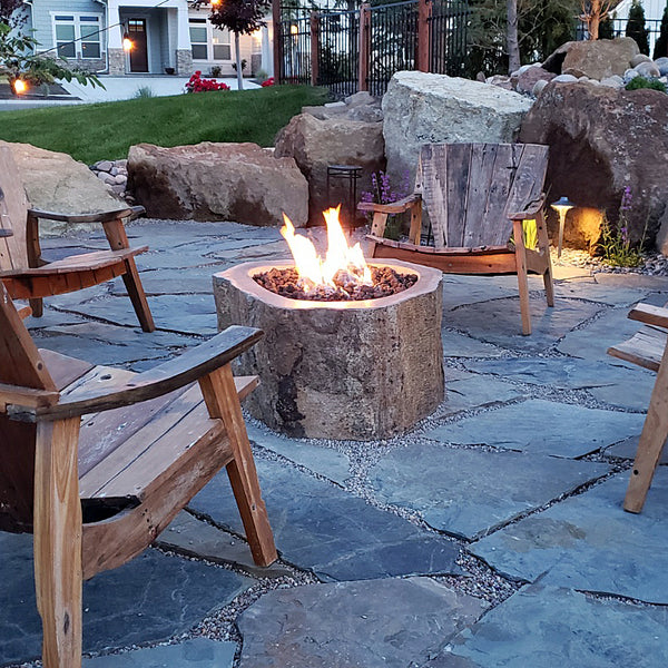 Andesite natural organic stone gas fire pit hand carved from real rock for burning natural gas or propane from Impact Imports in Boise Idaho