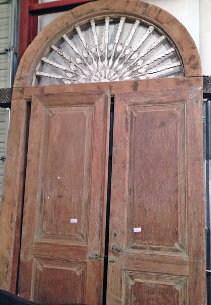 Salvaged Teak Door from Madura Island, Extra Large, Arched Top - Impact Imports