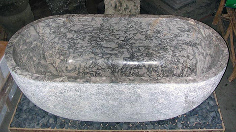 Modern / Rustic Gray Marble Bathtub hand cut from a single piece of stone, Custom Order Only - Impact Imports
