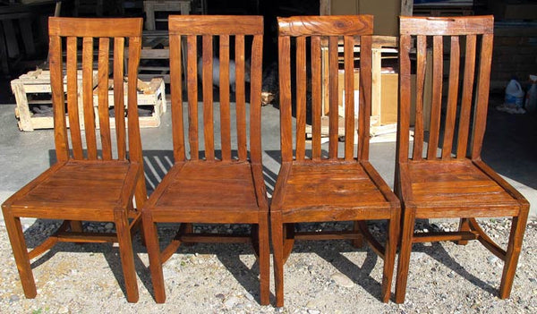 Solid and sturdy slatted back rest reclaimed teak dining chairs with a slightly rustic or textured surface for indoor or outdoor use.