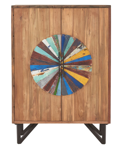 Modern reclaimed salvaged fishing boat wood liquor cabinet buffet with 4 doors and a colorful central door design made from original boat wood pieces with original paint.