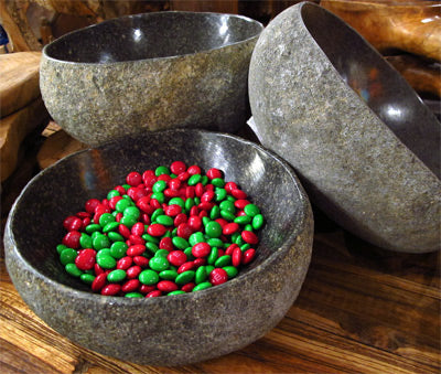 rover rock stone boulder bowls with a natural organic exterior and polished interior bowl.
