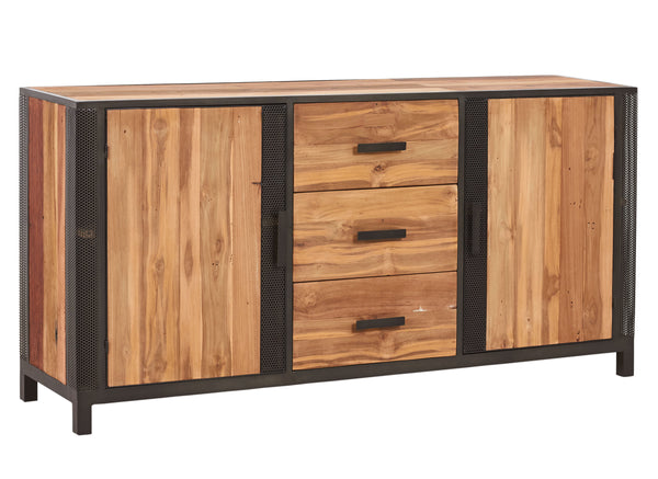 Front view of a modern reclaimed salvaged fishing boat wood buffet or entry table with 3 drawers and 2 doors with perforated steel details from the Chic Furniture Collection at Impact Imports.